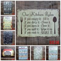 regra de metal venda por atacado-2017 moda 20 * 30 cm nossa cozinha família banheiro regras cartaz sinal de lata Coffee Shop Bar Restaurante arte da parede decoração Bar Metal pinturas