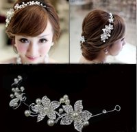 Wholesale Pearl Decorated - Bride Jewelry Silver Red Crystal Flower Bride Headdress Soft Chain Wedding Hair Ornaments Decorated Headpieces 2016-2017