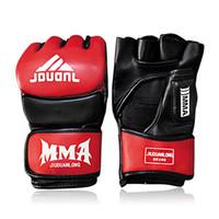 Wholesale Half Hand Leather Gloves - Pu Leather Mma Muay Thai Training Gloves Sanda Mitts Sandbag Punching Sparring Boxing Gloves Half Finger Hand Gear