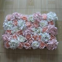 artificial white hydrangeas venda por atacado-10 pçs / lote artificial rose e luz rosa branco hydrangea flor parede para casamento pano de fundo ou gramado / pilar estrada levar decoração