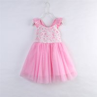 Wholesale chinese dresses for kids - INS Girls Lace Gauze Dress 2017 New summer Kids baby sleeveless PINK TUTU dress Beach dress for Children birthday