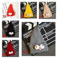 Wholesale Sesame Street Caps - Children's sesame street knit big eyes baby hat pointy wizard hat with big eyes and head cap