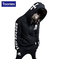 Wholesale Skull Print Hoodie - Wholesale- Hooded Hoody Hoodies Men 2017 Spring Hip Hop Streetwear Fashion Skull Letter Printed Sweatshirt Cotton Causal Black Men Clothing