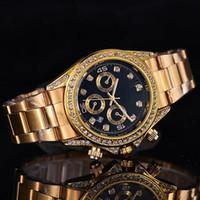 Wholesale Movement Free - 2017 Diamond gold watch brand fashion stainless steel quartz movement ms man watch watch free shipping