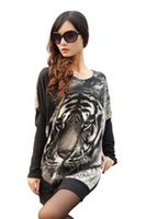 Wholesale Tiger Batwing Sweater - Wholesale-Fashion Women Black Sweaters Tiger Print Crewneck Batwing Sweater Casual Jumper Pullover Free Shipping