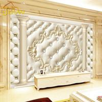 gewebte kulissen großhandel-Großhandels-Europäischen Stil Roman Spalte Soft Pack 3D Stereoskopischen Benutzerdefinierte Wandbild Tapete Wohnzimmer Sofa vlies TV Hintergrund Tapete