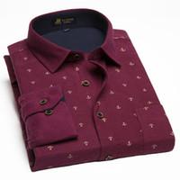 Wholesale Shirt Flannel - Wholesale- 100% Cotton Peached Flannel Shirts Leisure Style Men's Print Casual Shirts Autumn& Winter Men's Brand Clothes Plus Size 5XL-10XL