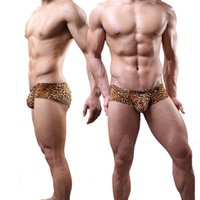 Wholesale Leopard Thong Lingerie - New Sexy Men Leopard U Pouch Low Rise Waist G-Strings Breathable Thongs Underwear Penis Pouch Gay Lingerie Gay Wear FX1007