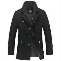 männer schmaler wollmantel groihandel-Winterjacke Männer Verdickung Wollmantel Slim Fit Jacken Mode Oberbekleidung Warm Man Casual Jacke Mantel Pea Coat Plus Größe 4XL