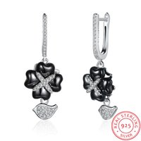 Lucky Crystal Earrings Mulheres Luxruy Jóias 100% Real 925 Sterling Silver com Ceramic Cubic Zirconia Earrings Quatro Folhas Clover Charms