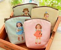 Wholesale Little Girls Pouches - Wholesale- Kawaii 4Colors - Little Girl DOLL 10.5CM - Canvas Hand Coin Purse & Wallet Case BAG ; Makeup Storage Holder Case BAG Pouch