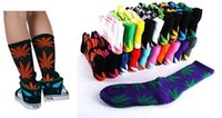 Wholesale maples leaves - Hot High Crew Socks Skateboard hiphop socks Leaf Maple Leaves Stockings Cotton Unisex Plantlife Socks