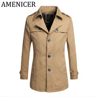 Discount men raincoat trench Wholesale- Man Fashion Solid Color Long Trench Coat Jacket Button Style Overcoat Men Slim Patchwork Short Section Coat Male For Raincoat