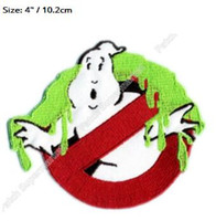 "Wholesale Ghost Busters - 4"" SLIMED Ghostbusters No Ghost busters Patches TV Movie Film Series Applique Costume Embroidered iron on Halloween Cosplay"