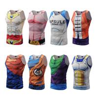 Wholesale Mens Summer Tank Tops - Dragon Ball Z Mens Summer Tank Tops Super Saiyan Goku Majin Buu Vegeta Piccolo Master Roshi Bodybuilding Vest Fitness Jersey