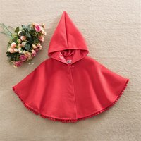 Wholesale Baby Red Cape - INS Baby Girls Cape Coat Hoodies Autumn Winter Red Poncho Christmas Shawls Toddler Fashion Warm Tassel Outwear