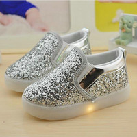 Wholesale White Canvas Sneakers Wholesale - Baby Girls boy LED Light Shoes Toddler Anti-Slip Sports Boots Kids Sneakers Children Cartoon Sequins PU Flats size 21-30