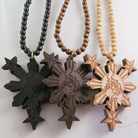 Wholesale Rosary Necklace Wood - Philippines Map Good Wood Hip-Hop Wooden Necklace Rosary Jewery Wholesale