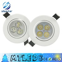 Wholesale ceiling downlights led - X50PCS White body led Dimmable 9W 12W Led DownLights High Power Led Downlights Recessed Ceiling Lights CRI>85 AC 110-240V With Power Supply