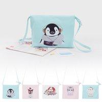 Wholesale Cats Design Phone Bags - Wholesale-Cute Animal Cat Dog Penguin Rabbit Crane Design Optional Canvas Bag Fashion Ladies Shoulder Bag Portable Casual Tote
