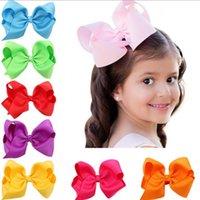 Wholesale Handmade Boutique Hairbows - Wholesale- 1PCS Infant hairbows Ribbon bow hair clip Baby girls hairclip Girls Boutique Handmade Hair Bow prendedor de cabelo 12 colors