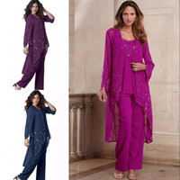 Wholesale three piece suit wedding guest for sale - Group buy Chic Three Pieces Beading Mother Of The Bride Pant Suits Long Sleeves Jacket Wedding Guest Dress Chiffon Sequined Plus Size Evening Dresses