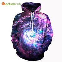 Wholesale Galaxy Mens Sweatshirts - Wholesale- ACTIONCLUB 2017 Spring New Fashion mens hoodies and sweatshirts 3d print space galaxy coat unisex HipHop Coats Casual Sportswear