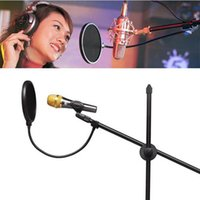 Wholesale Wholesale Mic Pop Filters - High Quality New Gooseneck Shied Pop Filter Double Layer Studio Microphone Mic Wind Screen Mask 2017 hot