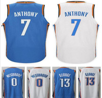 Wholesale Oklahoma City - 2017 2018 New Brand Oklahoma City #7 Carmelo Anthony Jersey Shirt Uniform Blue White 0 Russell Westbrook 13 Paul George Basketball Jerseys