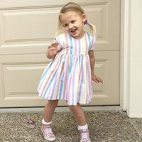 rainbow stripe cotton dress achat en gros de-Nouvelle collection Sweet Baby Girls Rainbow Candy Color Stripes Robe en coton Summer Ruffles Ins Hot Sell Toddler Baby Dresses