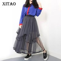 Wholesale Skirt Woman Fashion Korea - [XITAO] 2017 Korea Summer New Arrival Fashion Casual Female Solid Color Loose Mesh Skirt Women Ankle-Length A-Line Skirt CXB097