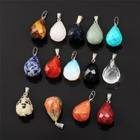 Wholesale Gemstone Focal - Natural AA Quality Sparkling Gemstone Faceted Tear Drop Briolette, Focal Stone, Mixed Clear Crystal Black Onyx Unakite,19x13mm, 10 Pieces