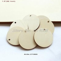 """Wholesale Unfinished Wood - Wholesale- (100pcs lot) 1.5"""" Unfinished Natural Wooden Circle Charm Rustic Wood Disks With Hole 38.1mm -CT1202D"""