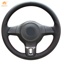 Wholesale Volkswagen Santana - Mewant Black Leather Steering Wheel Cover for Volkswagen Golf 6 Mk6 VW Polo Sagitar Bora Santana Jetta Mk6