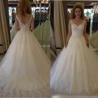 Wholesale sparkle tulle princess wedding dresses for sale - Group buy 2017 Sexy African Wedding Dresses Lace Applique V Neck Backless Women Sparkle Sequins Formal Country Bridal Gowns Sweep Train