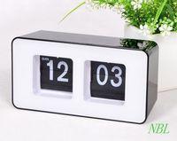Wholesale Mechanical Retro Flip Clock - Wholesale-Home Digital Auto Flip Desk Clock Classic Stylish Retro Children Study Desktop Clocks Bedroom File Down Page Turning Table Clock