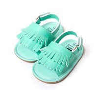 Wholesale Stylish Shoes Girl - stylish pu leather tassel baby moccasins tassel girls baby shoes Scarpe Neonata hook and loop outdoor shoes hard rubber bottom