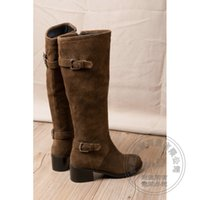 Wholesale Long White Boots For Women - Cowhide Zip Matte Chunky Korean Version Faux Fur Genuine Leather Buckle Over The Knee Long Riding Boots For Women British Style