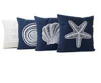 estilo marino al por mayor-Funda de almohada de lona de estilo mediterráneo Serie Marine de funda de cojín bordada Concha con forma de concha de estrella de mar funda de almohada