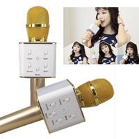 Wholesale Ktv Computer Microphone - Microphone Q7 PK K068 Handheld Bluetooth Wireless KTV With Speaker Mic Microfono Handheld For iphone Smartphone Karaoke DHL Free OTH329