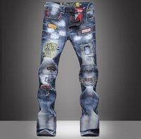 Wholesale Denim Spots - Wholesale-2016 Fashion Brand Jeans Men Cotton Street Dance Hip Hop Spot Denim Pants Male Cowboy Hiphop Ripped Straight Trousers Hole HOT