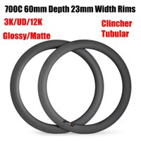 Hot Sale Full Carbon Bike Jills 700C 60mm Profundidade 23mm Largura 3K UD Matte Glossy Clincher Tubular 485-515g 16-32 Buracos Carbon Bicycle Rim