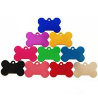 kemik şeklinde etiketler toptan satış-100 adet / grup Özel Kişiselleştirilmiş Kazınmış Hayvan KIMLIK Etiketi Kemik Paw 6 Şekiller Kimlik Köpek Kedi Charm Çift Taraflı Etiket