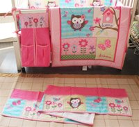 Wholesale Owl Pcs Set Baby - American Baby Bedding Set 4 PCS Girls Crib Bed Set Pink Flower Owl embroidered Inc Comforter ,Bumer, Coverlet and Skirt