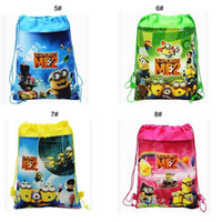 Wholesale Despicable Drawstring - 34*27cm Minion Drawstring Bags Despicable Me 2 kids backpacks non woven backpack cartoon string backpacks free shipping