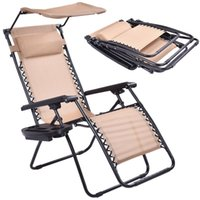 Wholesale Fold Lounge Chair - Folding Recliner Zero Gravity Lounge Chair With Shade Canopy and Cup Holder Beige