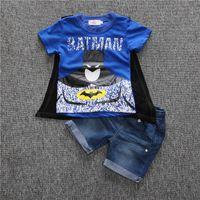 Wholesale Superman Jeans - Superman boys T-shirt 2016 summer children clothing boys kids super hero cloak batman printed T-shirt ,short jeans clothing sets
