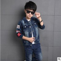 Wholesale Boy Briefs 14 - Children 's Denim Clothing Sets New 2017 Spring and Autumn Boys Gray Color Size6-14 Long-sleeved 2 Piece ly361 Kids Clothes Sets
