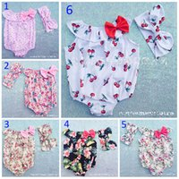Wholesale Baby Romper Band Printing - 7 Style 0-3T Baby Flower Rompers+Hair band Girl ins Cotton floral cherry print sleeveless romper with Bow Girls Ruffled Jumpsuit B001