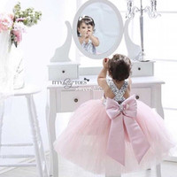 Wholesale Cheap Toddler Birthday Tutus - Pink Ball Gown Flower Girl Dresses for Wedding Shinny Sequins Cross Back Tutu 2017 Cheap Toddler Baby Birthday Party Girls Pageant Dresses